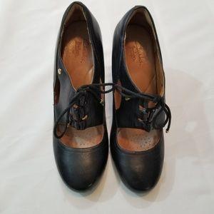 Clarks Indigo Black Leather Heeled Mary Jane Shoes